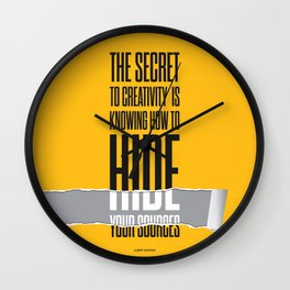 Lab No. 4 - The secret to creativity Albert Einstein Inspirational Quotes Poster Wall Clock