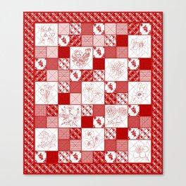 Redwork Floral Quilt Canvas Print