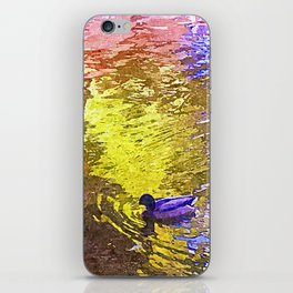 Purple Duck Swimming Yellow Pink Lake Painting iPhone Skin