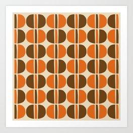 Mid Century Modern Geometric Pattern 127 Beige Brown and Orange Art Print