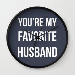 You're my favorite husband - navy Wall Clock
