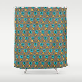 Funky Yellow & Blue Flowers Shower Curtain