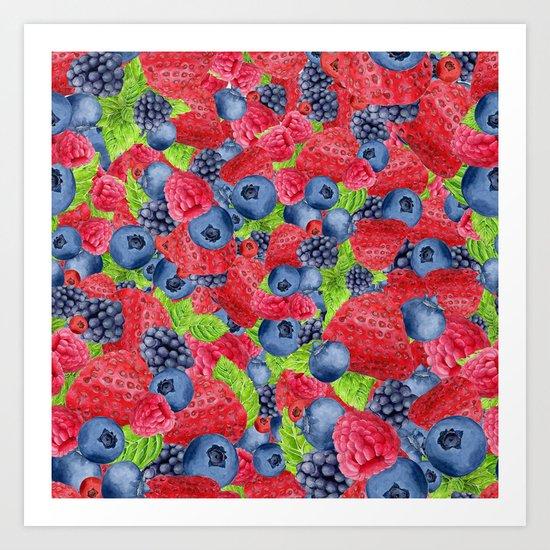 Berries Pattern 01 Art Print