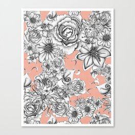 B&W Flowers Coral Canvas Print