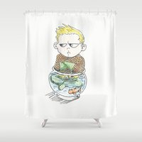 aquaman Shower Curtains featuring Baby Arthur by Eric Dockery
