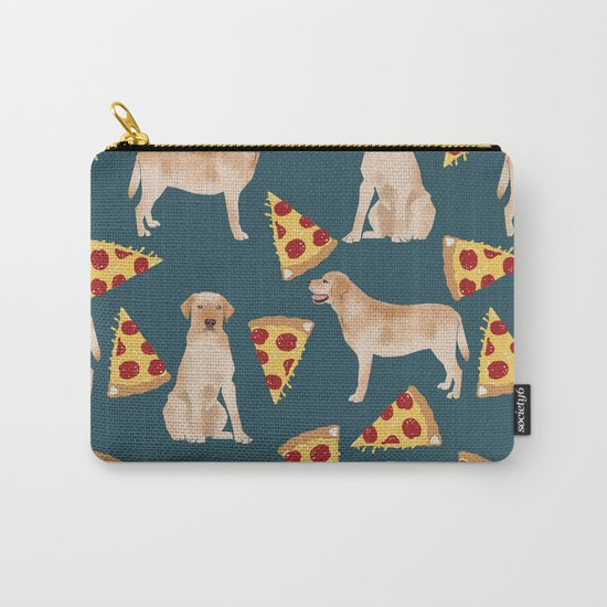 Yellow Labrador pizza cheesy slice of pizza food trendy pet gifts for yellow lab owners dog breed Carry-All Pouch