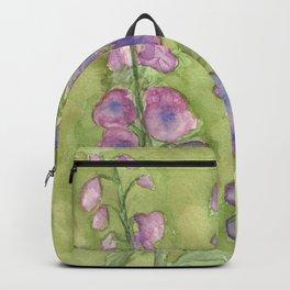 Hollyhock Foxglove Watercolor Muted Tones Backpack