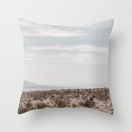 Blue Mountain Mojave // Vintage Desert Landscape Cactus Plants Nature Scenery Photograph Decor Throw Pillow