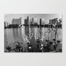Lake Eola Take Flight and Orlando Skyline - Monochrome Canvas Print