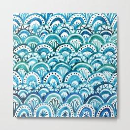 Blue Watercolor Mermaid Pattern Metal Print