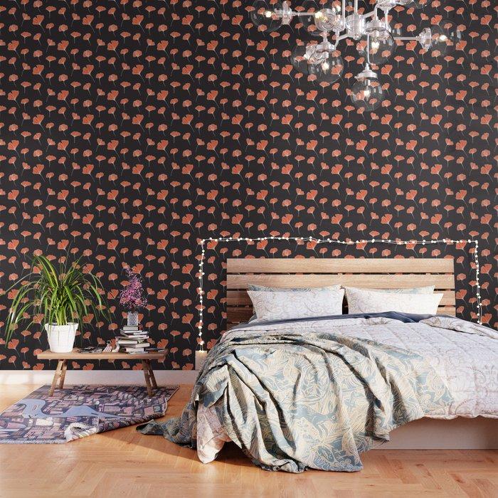 Ginkgo Biloba Leaves Pattern Dark Society6 Decor Buyart Wallpaper By Designdn
