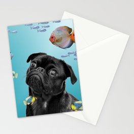 Tropic Fishes with Pug Dog Stationery Cards