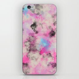Artsy bright pink teal black abstract watercolor iPhone Skin