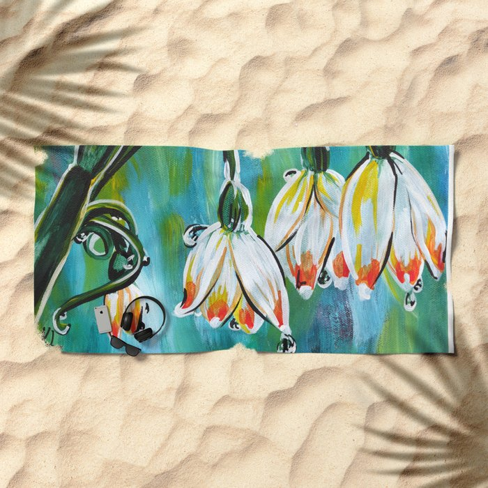 Drips on droopy flowers Beach Towel