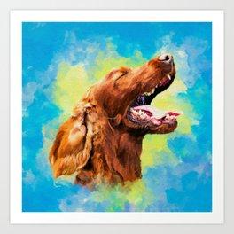 Irish Setter - happy dog Art Print