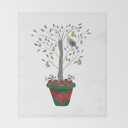 12 Days of Christmas Partridge in a Pear Tree Throw Blanket