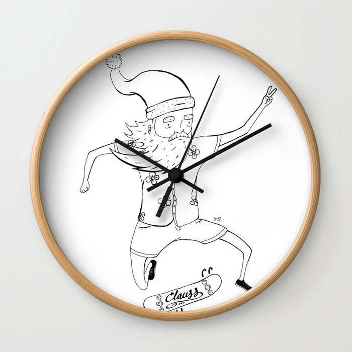 santa sk8 Wall Clock