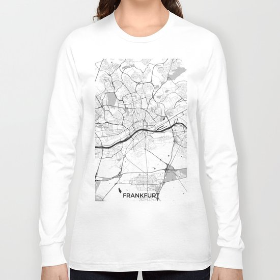 Frankfurt City Map Gray Long Sleeve T-shirt