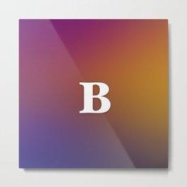Monogram Letter B Initial Orange & Yellow Vaporwave Metal Print