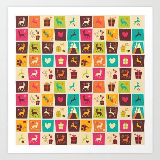 Christmas square pattern 02 Art Print