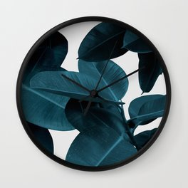 Indigo Plant Leaves Wall Clock
