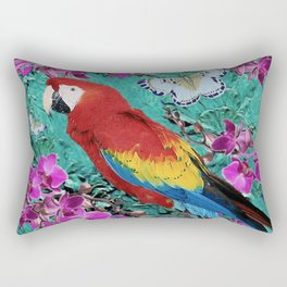 TROPICAL ORCHIDS RED MACAW PARROT JUNGLE ART Rectangular Pillow