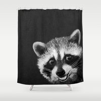 raccoon Shower Curtains featuring Raccoon  by Laura Graves