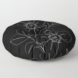 Botanical illustration one line drawing - Rose Black Floor Pillow