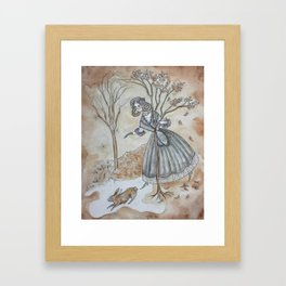 She Stumbled Upon Winter's Door Framed Art Print