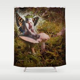 Mossy Mushroom Fairy Shower Curtain