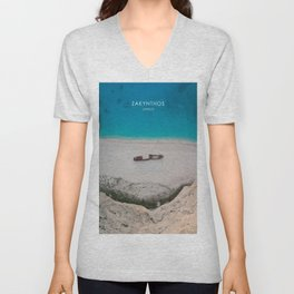 Zakynthos, Greece Travel Artwork Unisex V-Neck