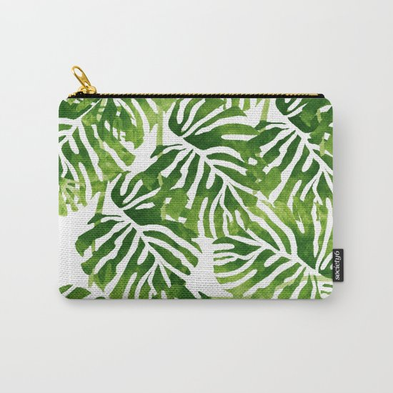 Tropical Leaves - Green Carry-All Pouch