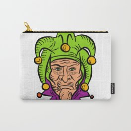 Medieval Court Jester Etching Color Carry-All Pouch