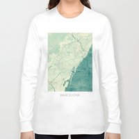 barcelona Long Sleeve T-shirts featuring Barcelona Map Blue Vintage by City Art Posters