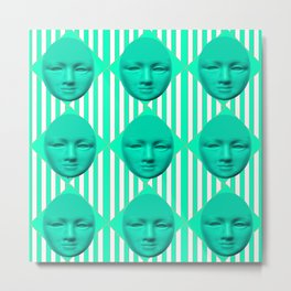 CONTEMPORARY TURQUOISE MOON FACE & STRIPES ART Metal Print