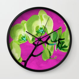 Orchid, green Wall Clock