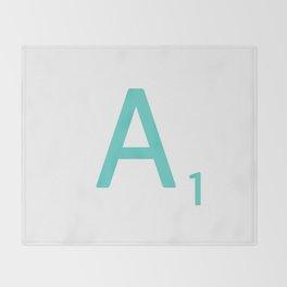 Blue Scrabble Letter A Throw Blanket