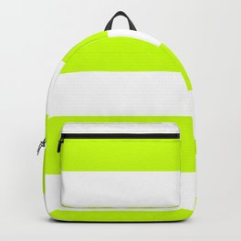 Wide Horizontal Stripes - White and Fluorescent Yellow Backpack