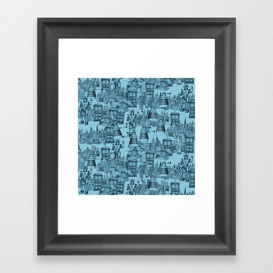 Doctor Who Toile de Jouy   'Walking Doodle'   Turquoise Framed Art Print