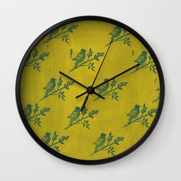 Blue Bird Stamp Print on Olive Green Wall Clock