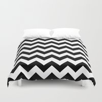 chevron Duvet Covers featuring Chevron (Black/White) by 10813 Apparel