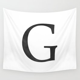 Letter G Initial Monogram Black and White Wall Tapestry