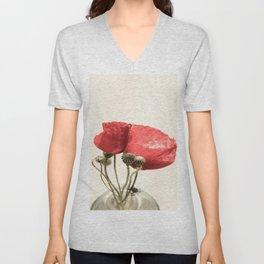 Poppies In Vase Unisex V-Neck