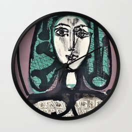 Pablo Picasso - The Woman with the Fishnet, Woman with Green Hair - Digital Remastered Edition Wall Clock
