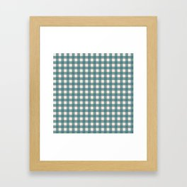 Buffalo Check Plaid in Teal and Cream Framed Art Print