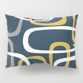 Mid Century Modern Loops Pattern in Light Mustard Yellow, Navy Blue, Gray, and White Pillow Sham