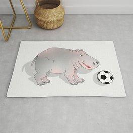 Hippo playing Football Rug