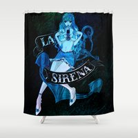 mini Shower Curtains featuring MERMAID MINI by Chandelina