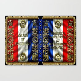 Vintage 18th Regiment French Battle Flag of Napoleon III Canvas Print