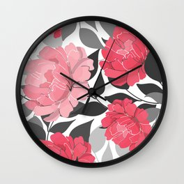 Blush and Bashful Flower Pattern on Black and White Wall Clock